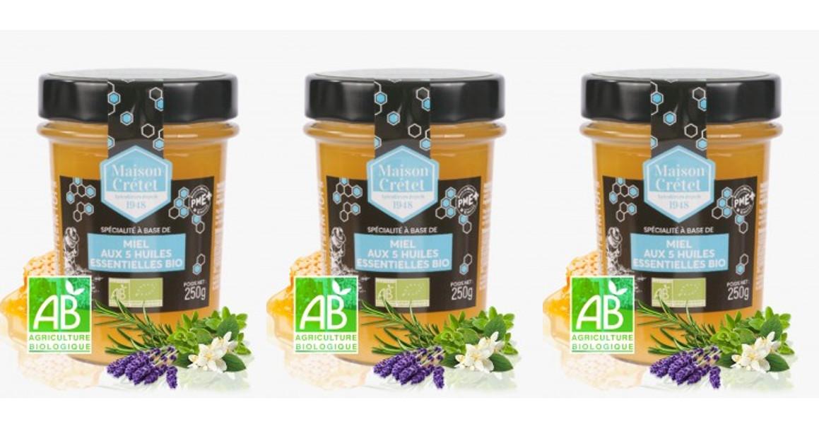 MAISON CRETET - Miel aux 5 huiles essentielles bio 3x250g