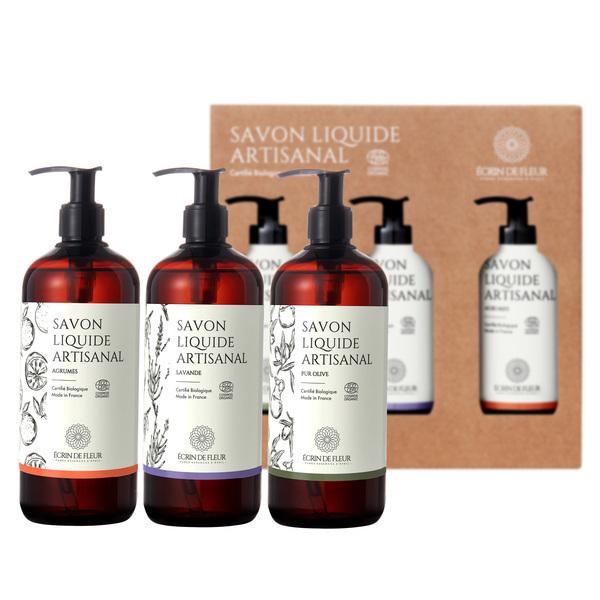 Écrin de fleur - Coffret de Savons  Liquides,Pure Olive, Lavender, Citrus 3x500ml