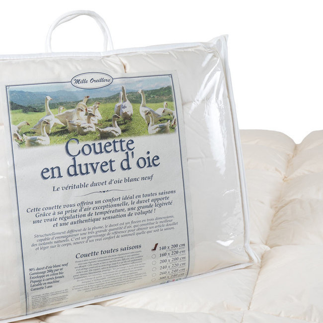 Mille oreillers - Couette en duvet d'oie 140x200 cm - Toutes saisons