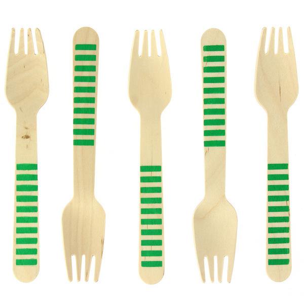 Annikids - 10 Fourchettes en Bois Rayures Vertes - Biodegradable