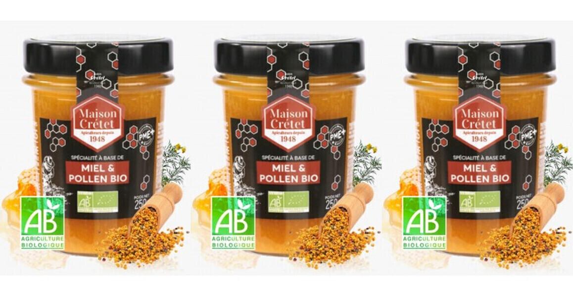 MAISON CRETET - Miel et pollen bio 3x250g