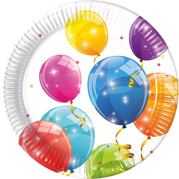 DECORATA PARTY - 8 Assiettes Ballons - Compostable