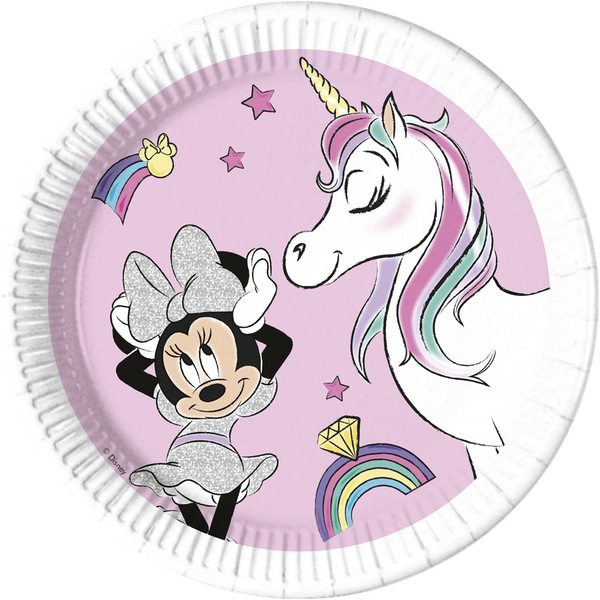 DECORATA PARTY - 8 Assiettes Minnie Licorne - Compostable