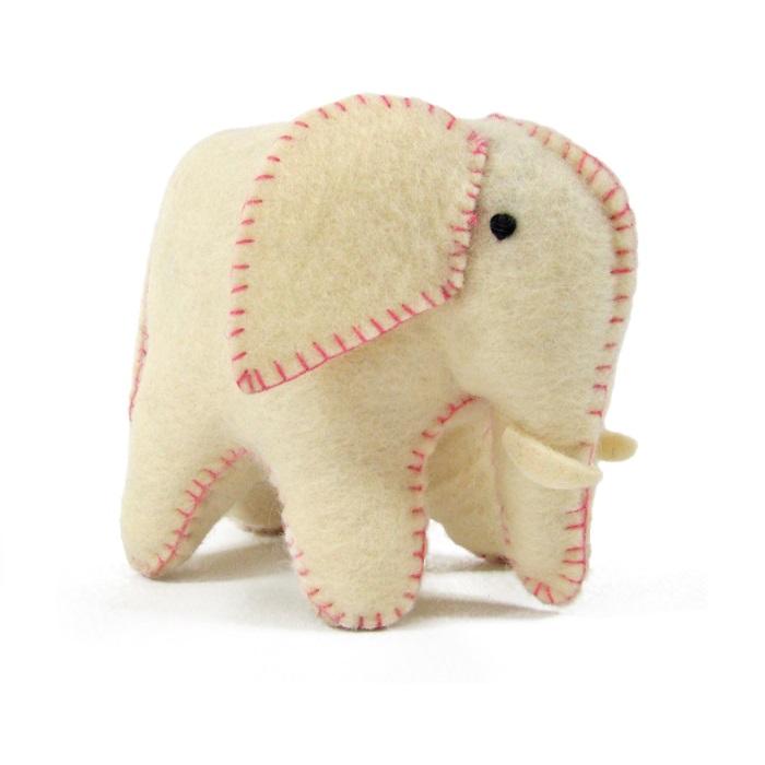 PAPOOSE TOYS - Éléphant blanc et rose en laine feutrée