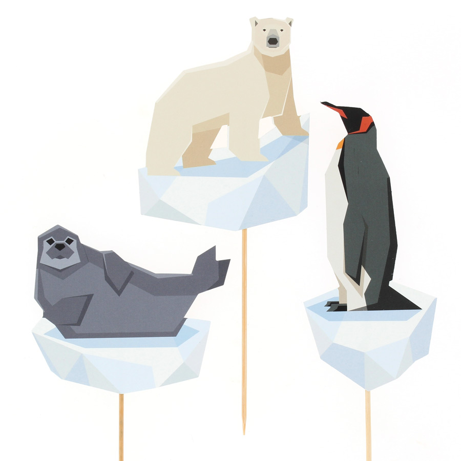 Annikids - Cake Toppers Animaux Polaires - Recyclable