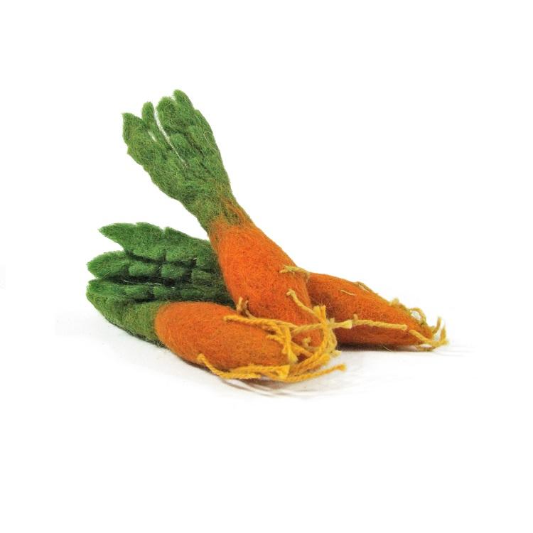 PAPOOSE TOYS - Mini légumes en laine feutrée - 3 carottes
