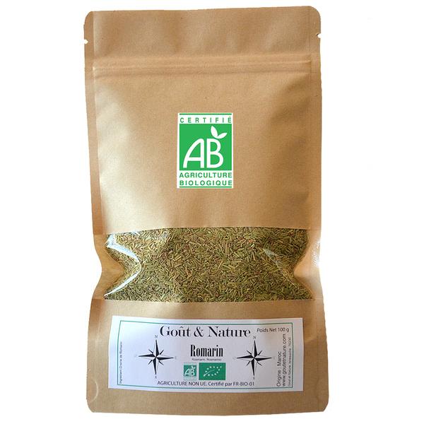 Goût et Nature - Romarin bio, 100 gr, sachet refermable, tisane bio, détox.