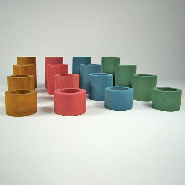 PAPOOSE TOYS - Tubes en bois Earth - set de 16