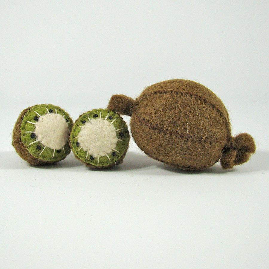 PAPOOSE TOYS - Fruits en laine feutrée - 3 kiwis