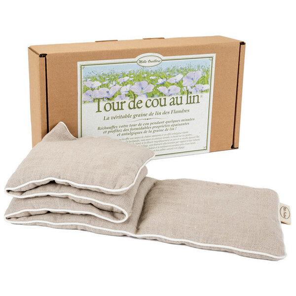 Mille oreillers - Tour de cou en lin naturel chauffant - 15 x 75 cm