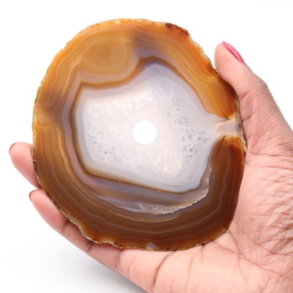 Ravaka & Mineraly - Agate tranche polie et percée du Brésil 97gr 110mm de Brésil