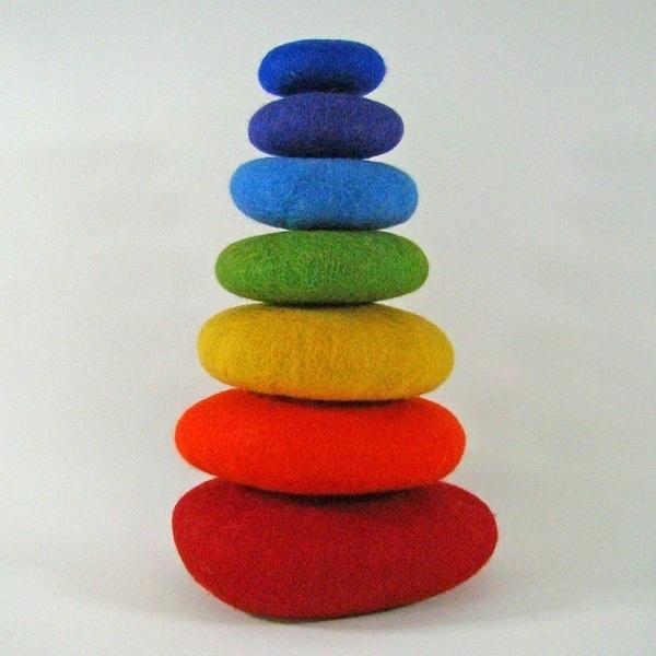 PAPOOSE TOYS - Galets en laine feutrée Rainbow - set de 7