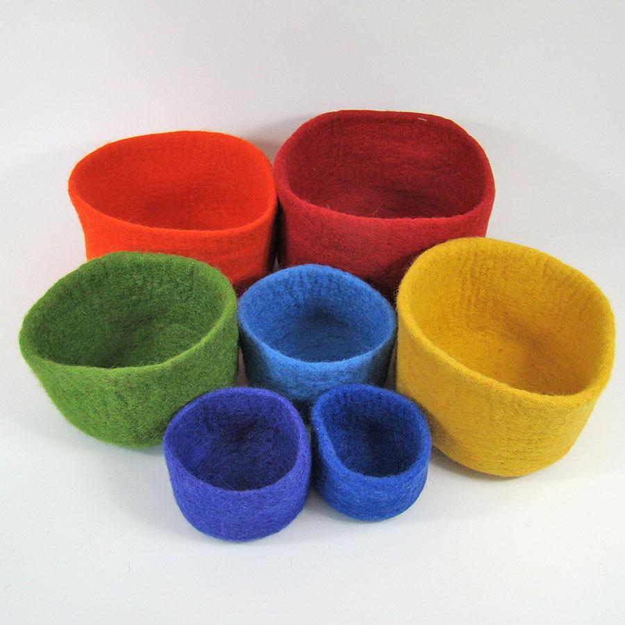 PAPOOSE TOYS - Bols en laine feutrée Rainbow - set de 7
