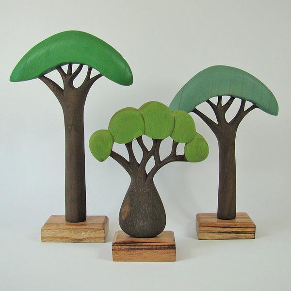 PAPOOSE TOYS - Arbres Africain en bois - set de 3