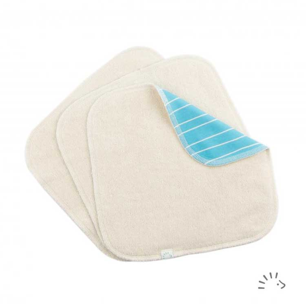 Popolini - Lot de 3 Lingettes lavables doublées en coton bio - Rayé Bleu