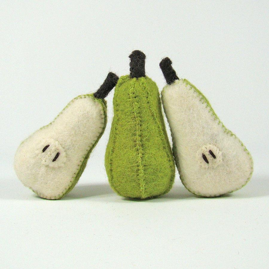 PAPOOSE TOYS - Fruits en laine feutrée - 3 poires