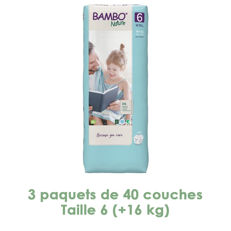 Bambo Nature - Couches Bambo Nature XL T6 (+16kg) - 3 paquets de 40