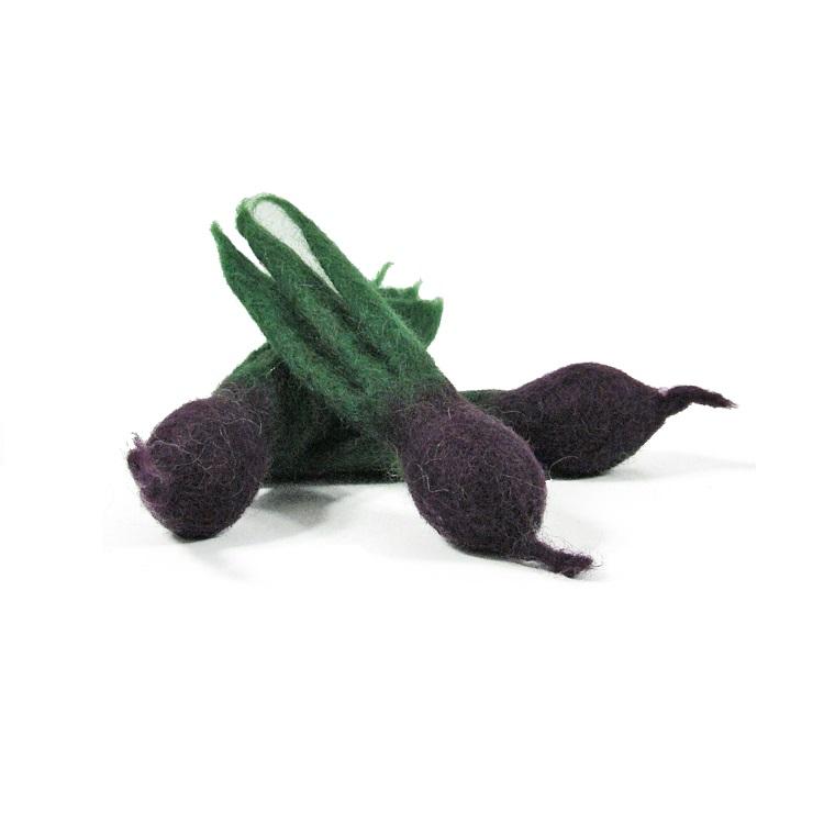 PAPOOSE TOYS - Mini légumes en laine feutrée - 3 betteraves