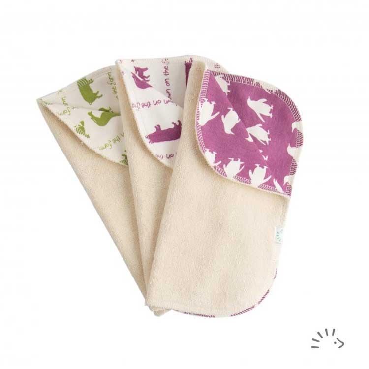 Popolini - Lot de 3 Lingettes lavables doublées en coton bio - Animaux