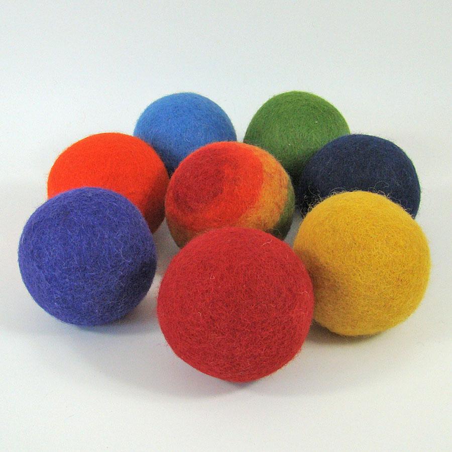 PAPOOSE TOYS - Balles 7 cm en laine feutrée Rainbow - set de 8