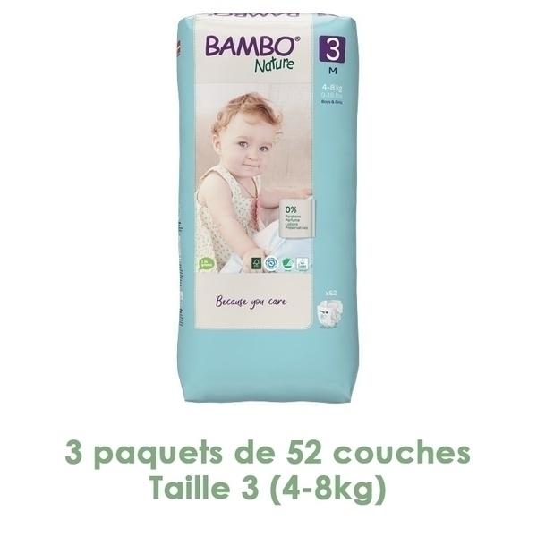 Bambo Nature - Couches Bambo Nature Midi T3 (4-8kg) - 3 paquets de 52