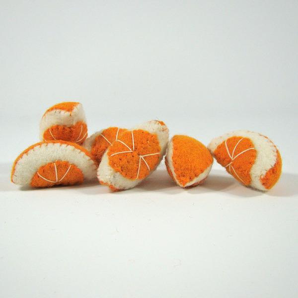 PAPOOSE TOYS - Fruit en laine feutrée - 6 quartiers d'orange