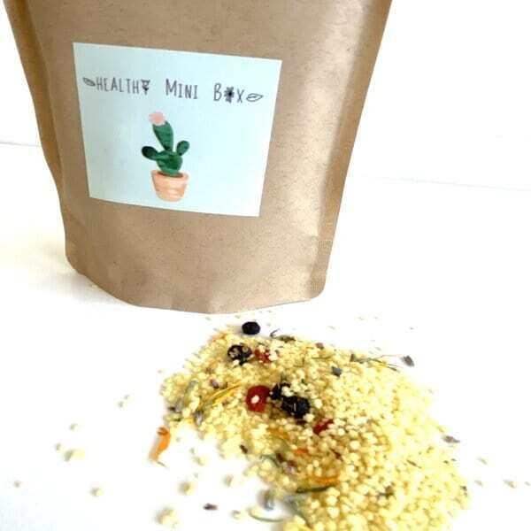 Healthy mini box - Couscous  aux fleurs , lavande , bleuets et baies de goji 150G