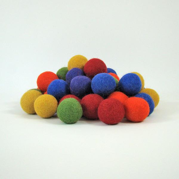 PAPOOSE TOYS - Balles 3,5 cm en laine feutrée Rainbow - set de 49