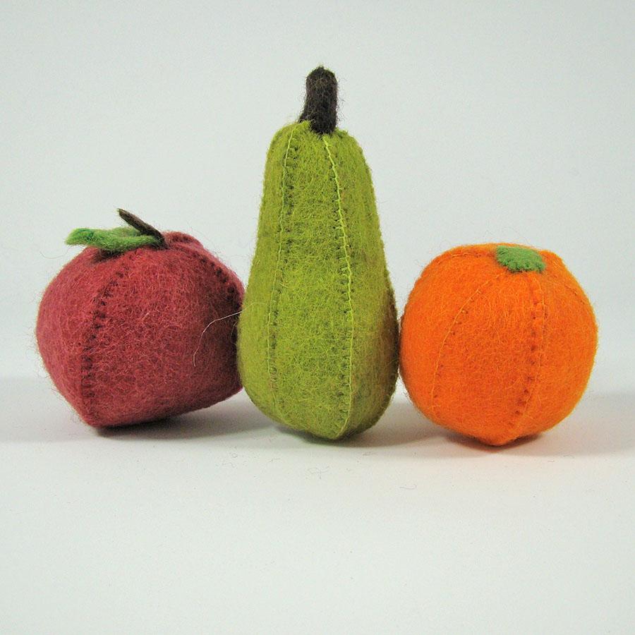 PAPOOSE TOYS - Fruits en laine feutrée - Pomme, poire, orange