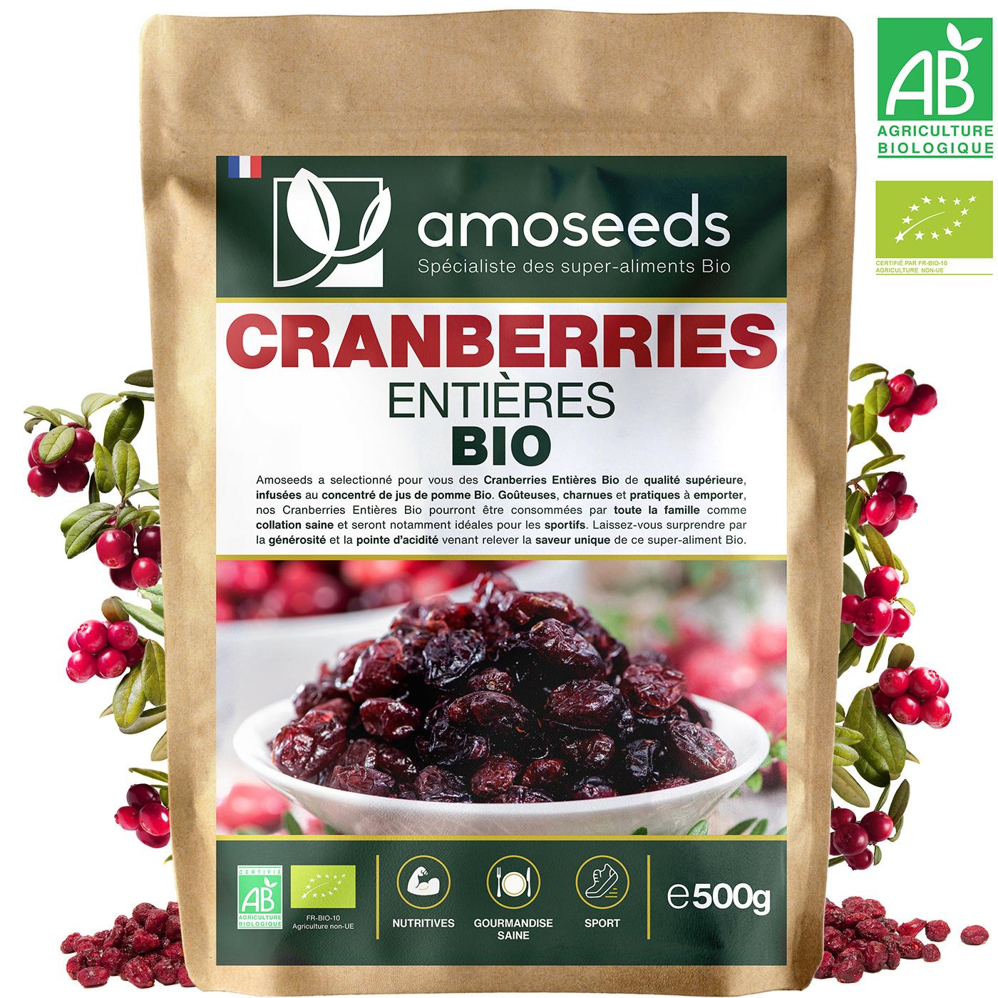 amoseeds - Cranberries Bio Canada - 500G - Entières Déshydratées