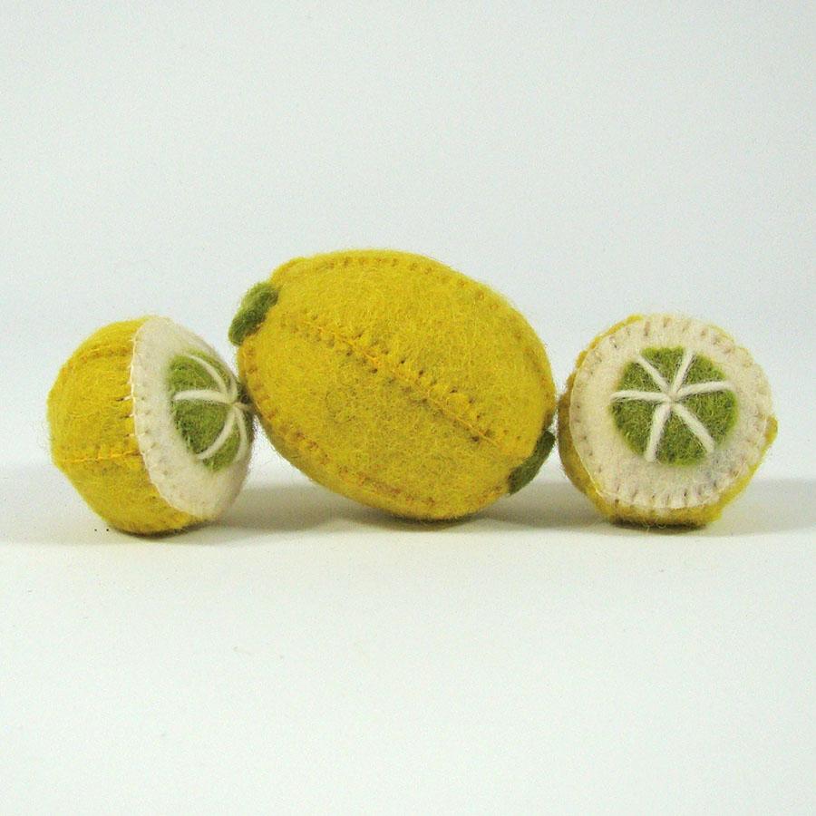 PAPOOSE TOYS - Fruits en laine feutrée - 3 citrons