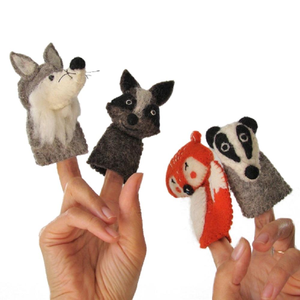 PAPOOSE TOYS - Marionnettes à doigts en laine feutrée - Forêt