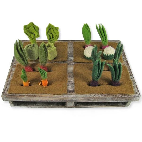 PAPOOSE TOYS - Potager avec lot de 16 légumes en laine feutrée