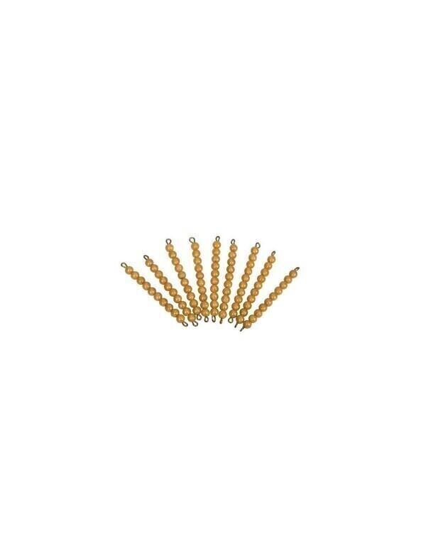 MontessoriSamuserAutrement - 9 barres 10 perles dorees