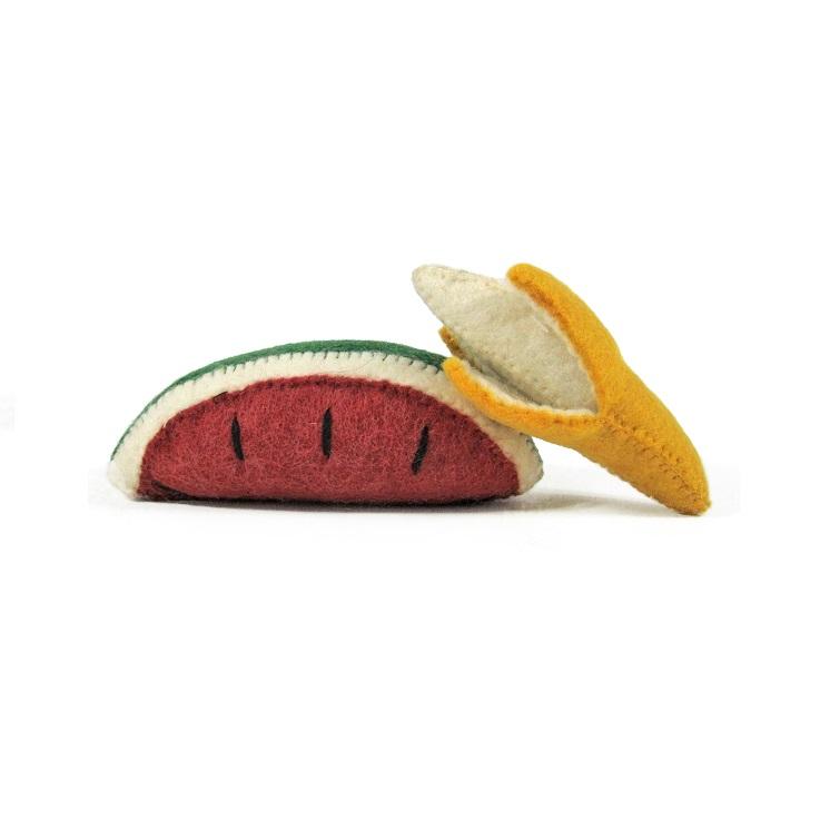 PAPOOSE TOYS - Fruits en laine feutrée - Banane et pastèque