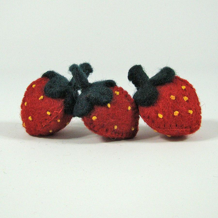 PAPOOSE TOYS - Fruits en laine feutrée - 3 fraises