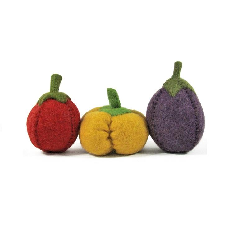 PAPOOSE TOYS - Légumes en laine feutrée - Tomate, poivron, aubergine