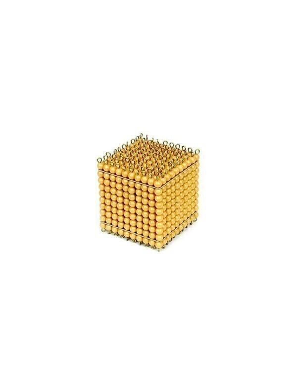 MontessoriSamuserAutrement - Cube de mille perles dorées