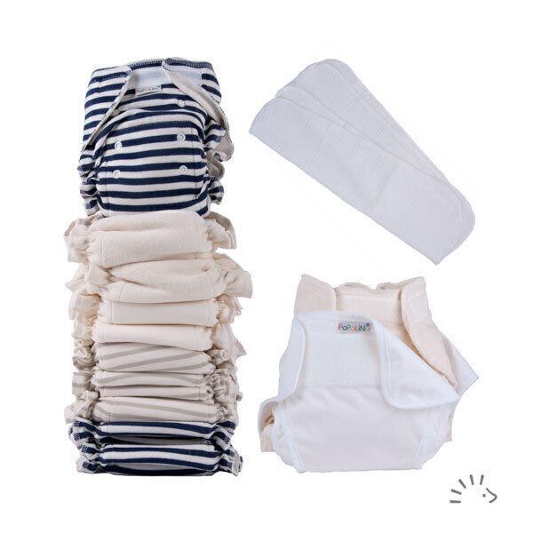 Popolini - Set 1 culotte de protection, 8 couches lavables et 4 inserts