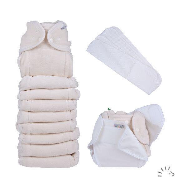 Popolini - Set 10 couches lavables évolutives et 2 inserts coton Bio - TU