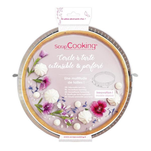 ScrapCooking - Cercle à tarte extensible perforé inox 16 à 30 cm