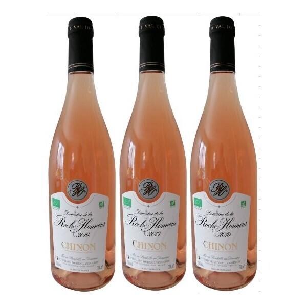 Vinaccus - Chinon Bio 2019 - Rosé sec AOC - lot de 3 bouteilles de 75cl