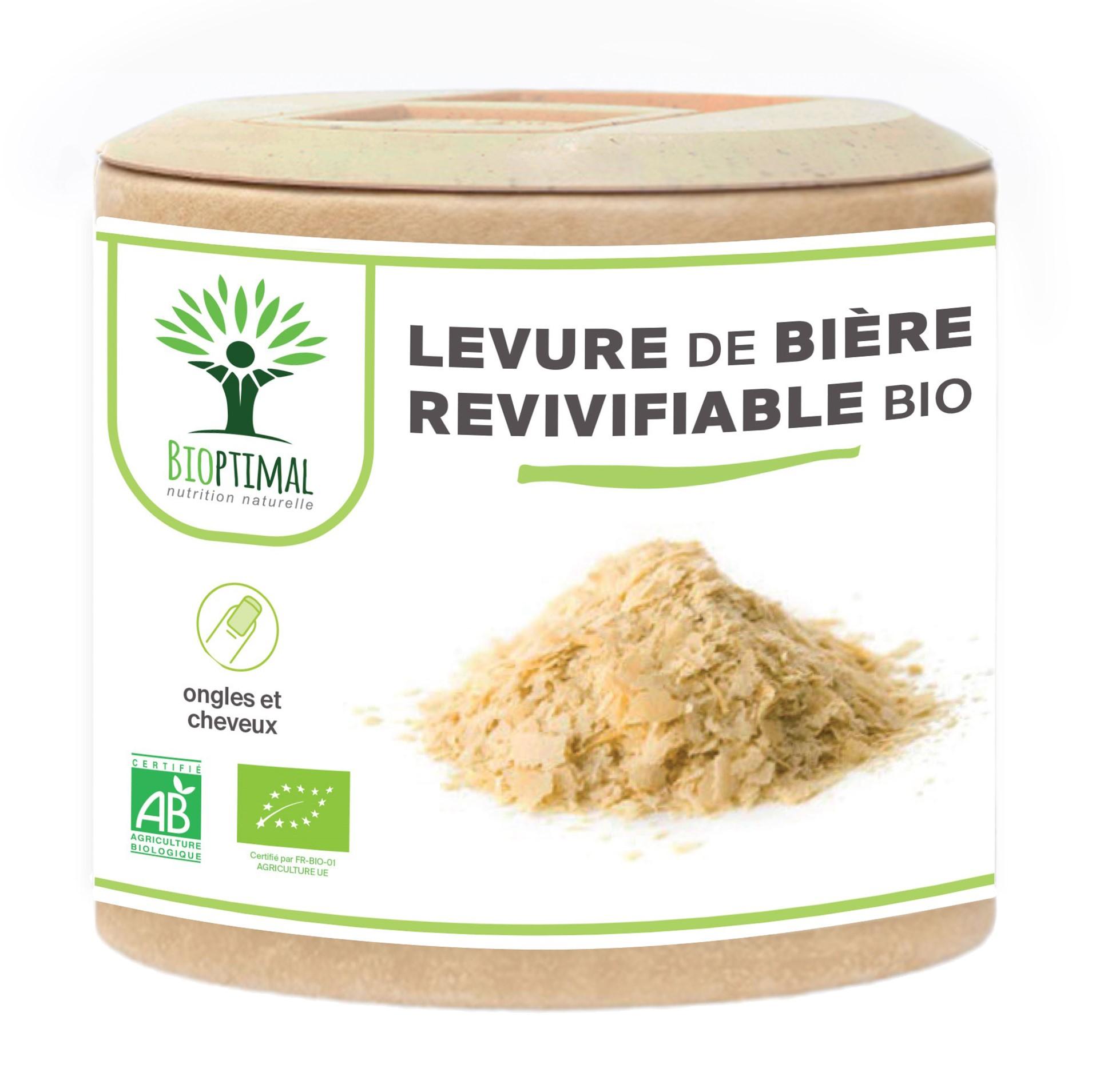 Bioptimal - Levure de Bière Bio Vivante - Peau Cheveux Ongles - 60 gélules