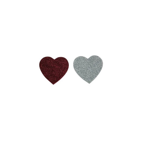 Eduplay - Gommettes paillettes coeurs rouge et argent