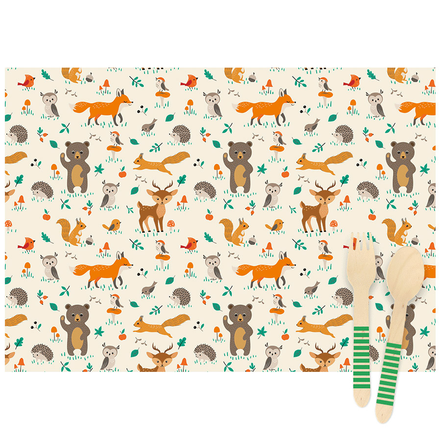 Annikids - 6 Sets de table Animaux de la Foret - Recyclable