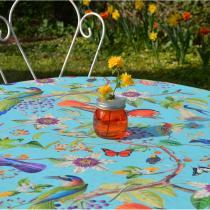 Fleur de Soleil - Nappe enduite Oiseaux turquoise - Carrée 120x120cm