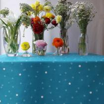 Fleur de Soleil - Nappe enduite Confettis turquoise - Ovale 160x200cm