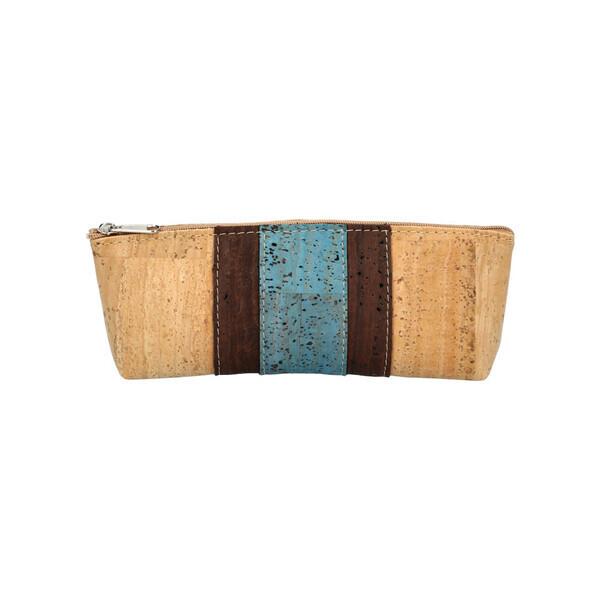 OAK Forest - Trousse en liège Vegan bande centrale - Pochette liège Bleu
