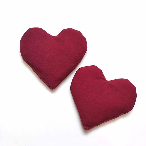 Mélie Coop - Lot de 2 bouillottes sèches de poche cœur