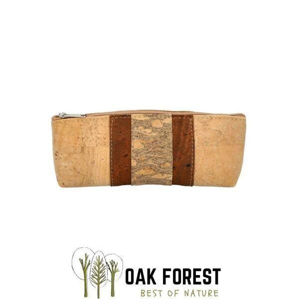 OAK Forest - Trousse en liège Vegan bande centrale - Pochette liège Marron